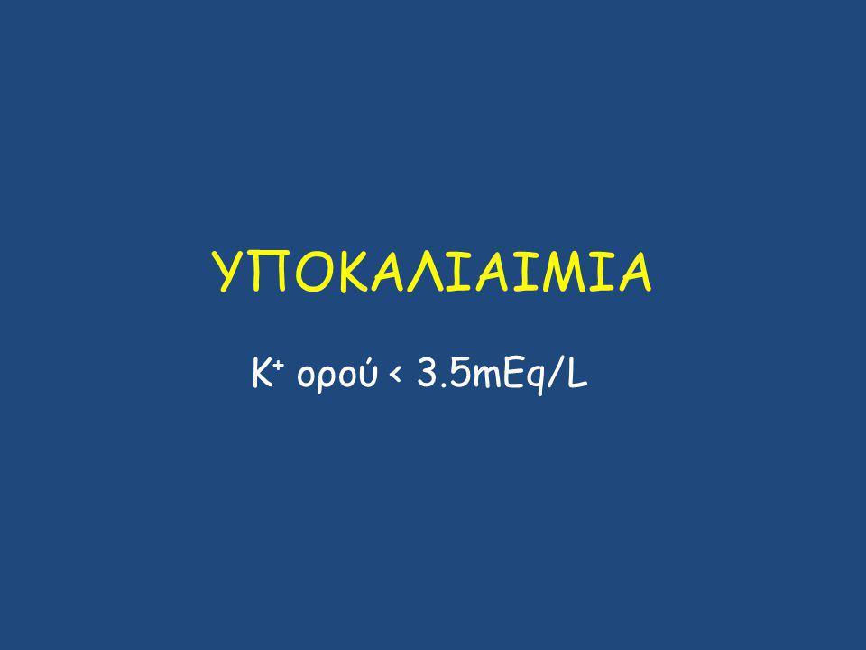 ΥΠΟΚΑΛΙΑΙΜΙΑ Κ + ορού < 3.5mEq/L