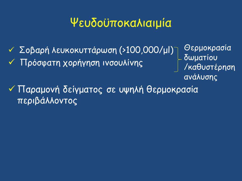 Ψευδοϋποκαλιαιμία Σοβαρή λευκοκυττάρωση (>100,000/μl) Πρόσφατη χορήγηση ινσουλίνης Παραμονή δείγματος σε υψηλή θερμοκρασία περιβάλλοντος Θερμοκρασία δ