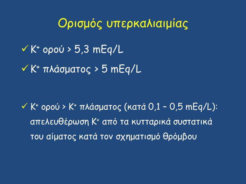 Ορισμός υπερκαλιαιμίας Κ + ορού > 5,3 mEq/L Κ + πλάσματος > 5 mEq/L Κ + ορού > Κ + πλάσματος (κατά 0,1 – 0,5 mΕq/L): απελευθέρωση Κ + από τα κυτταρικά συστατικά του αίματος κατά τον σχηματισμό θρόμβου