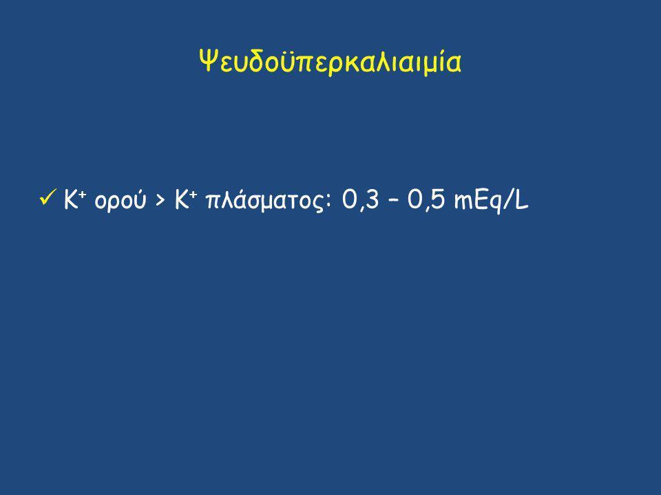 Ψευδοϋπερκαλιαιμία Κ + ορού > Κ + πλάσματος: 0,3 – 0,5 mΕq/L