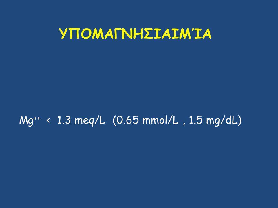 ΥΠΟΜΑΓΝΗΣΙΑΙΜΊΑ Mg ++ < 1.3 meq/L (0.65 mmol/L, 1.5 mg/dL)