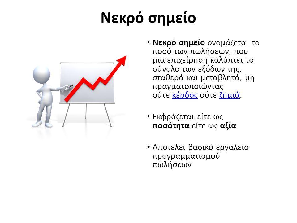 Νεκρό σημείο Νεκρό σημείο ονομάζεται το ποσό των πωλήσεων, που μια επιχείρηση καλύπτει το σύνολο των εξόδων της, σταθερά και μεταβλητά, μη πραγματοποι