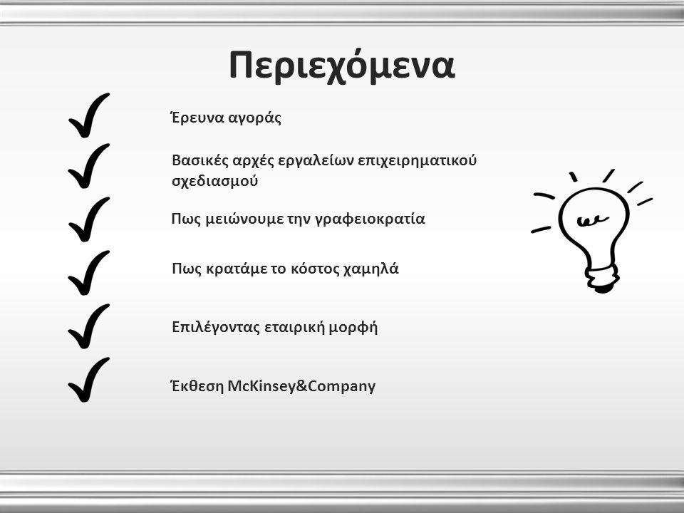 Περιεχόμενα Έρευνα αγοράς Βασικές αρχές εργαλείων επιχειρηματικού σχεδιασμού Πως κρατάμε το κόστος χαμηλά Επιλέγοντας εταιρική μορφή Έκθεση McKinsey&C