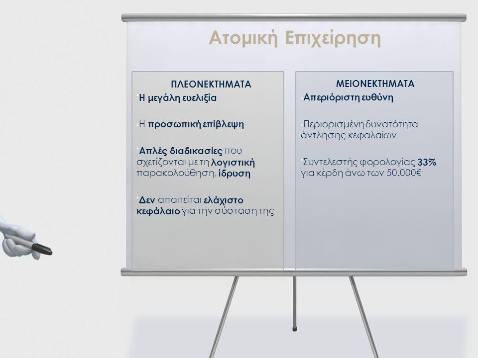 Ατομική Επιχείρηση ΠΛΕΟΝΕΚΤΗΜΑΤΑ Η μεγάλη ευελιξία Η προσωπική επίβλεψη Απλές διαδικασίες που σχετίζονται με τη λογιστική παρακολούθηση, ίδρυση Δεν απ