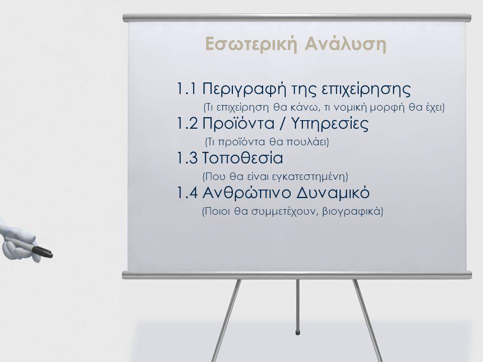 1.1 Περιγραφή της επιχείρησης (Τι επιχείρηση θα κάνω, τι νομική μορφή θα έχει) 1.2 Προϊόντα / Υπηρεσίες (Τι προϊόντα θα πουλάει) 1.3 Τοποθεσία (Που θα