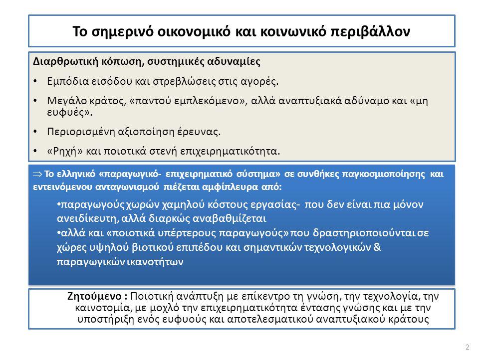 ΠΥΛΩΝΑΣ 1 1.3 1.3.2 Δημιουργία δέσμης κινήτρων για την προσέλκυση και διατήρηση θέσεων ερευνητών στον ιδιωτικό τομέα Αλλαγή του θεσμικού πλαισίου αναφορικά με: τη χαλάρωση των περιορισμών στην απασχόληση καθηγητών Α.Ε.Ι.