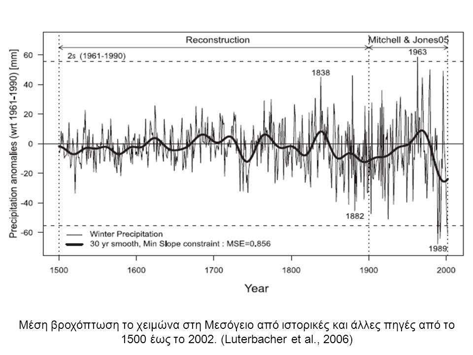 Μέση βροχόπτωση το χειμώνα στη Μεσόγειο από ιστορικές και άλλες πηγές από το 1500 έως το 2002. (Luterbacher et al., 2006)