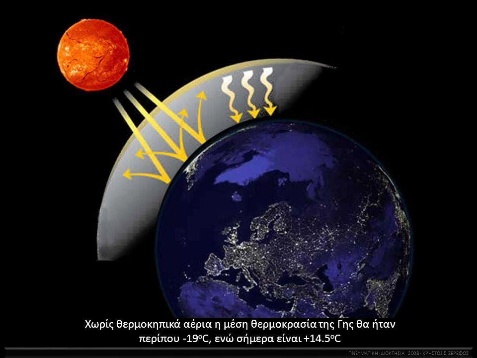 Χωρίς θερμοκηπικά αέρια η μέση θερμοκρασία της Γης θα ήταν περίπου -19 ο C, ενώ σήμερα είναι +14.5 ο C ΠΝΕΥΜΑΤΙΚΗ ΙΔΙΟΚΤΗΣΙΑ 2008 - ΧΡΗΣΤΟΣ Σ. ΖΕΡΕΦΟΣ