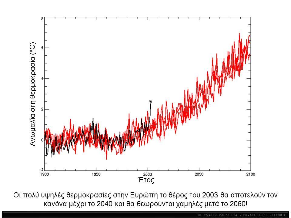 Οι πολύ υψηλές θερμοκρασίες στην Ευρώπη το θέρος του 2003 θα αποτελούν τον κανόνα μέχρι το 2040 και θα θεωρούνται χαμηλές μετά το 2060! Ανωμαλία στη θ