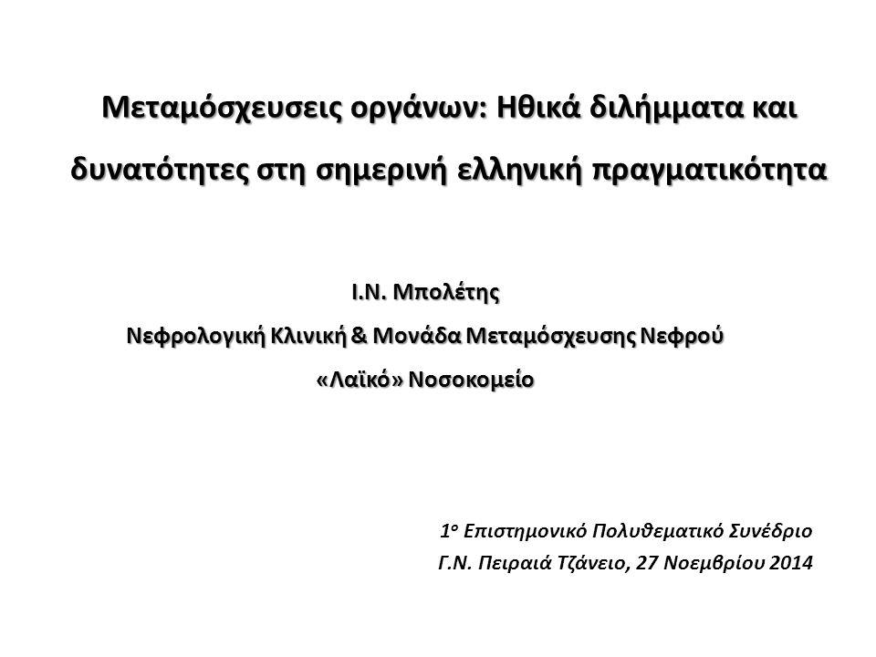1 ο Επιστημονικό Πολυθεματικό Συνέδριο Γ.Ν. Πειραιά Τζάνειο, 27 Νοεμβρίου 2014 Ι.Ν. Μπολέτης Νεφρολογική Κλινική & Μονάδα Μεταμόσχευσης Νεφρού «Λαϊκό»