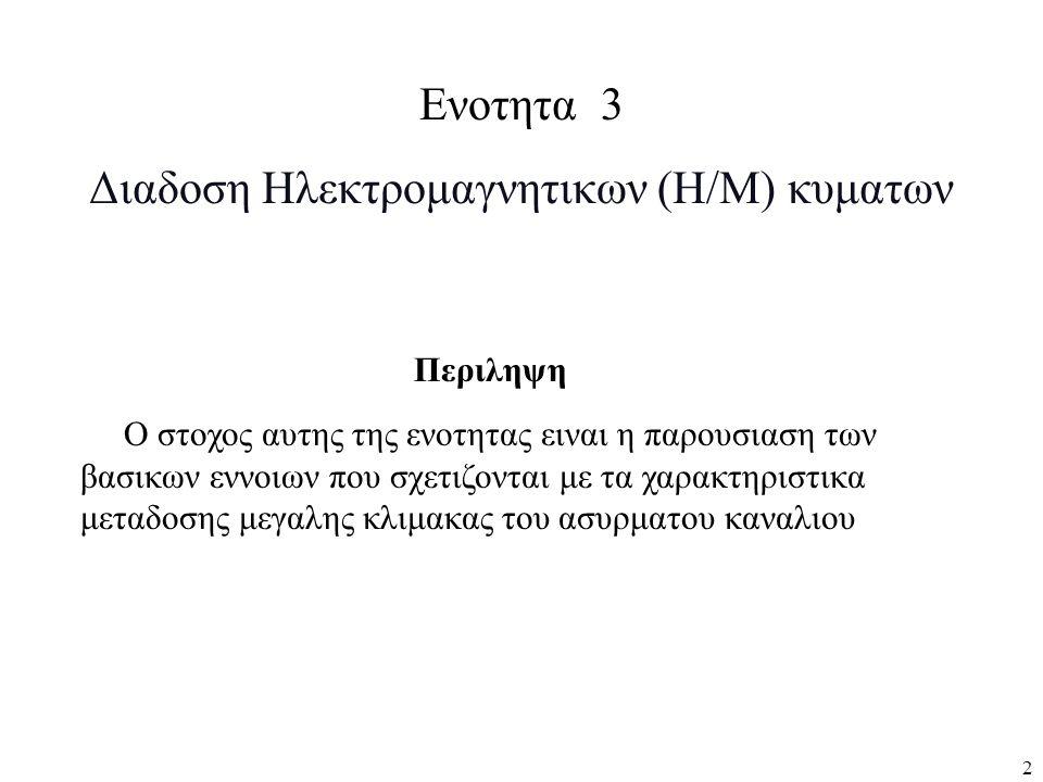 2 Ενοτητα 3 Διαδοση Ηλεκτρομαγνητικων (Η/Μ) κυματων Περιληψη Ο στοχος αυτης της ενοτητας ειναι η παρουσιαση των βασικων εννοιων που σχετιζονται με τα