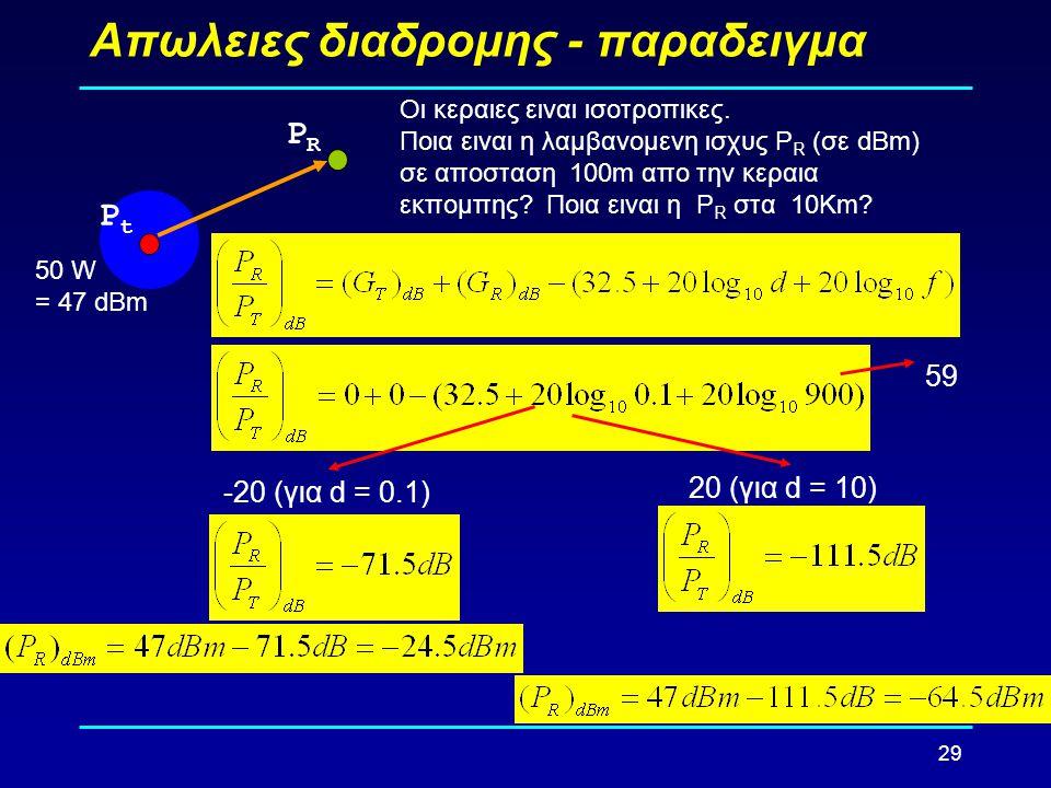 29 Απωλειες διαδρομης - παραδειγμα PtPt PRPR 50 W = 47 dBm Οι κεραιες ειναι ισοτροπικες. Ποια ειναι η λαμβανομενη ισχυς P R (σε dBm) σε αποσταση 100m