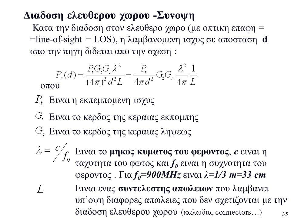 35 Διαδοση ελευθερου χωρου -Συνοψη Κατα την διαδοση στον ελευθερο χωρο (με οπτικη επαφη = =line-of-sight = LOS), η λαμβανομενη ισχυς σε αποσταση d απο