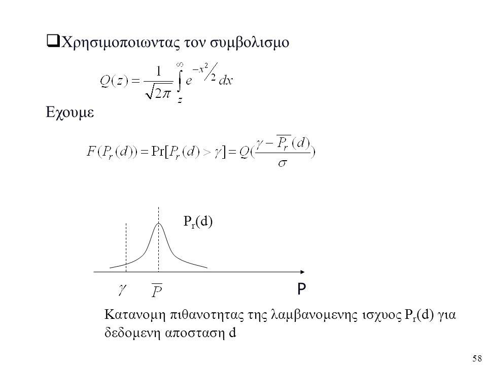 58 P  Χρησιμοποιωντας τον συμβολισμο Εχουμε Κατανομη πιθανοτητας της λαμβανομενης ισχυος P r (d) για δεδομενη αποσταση d P r (d)