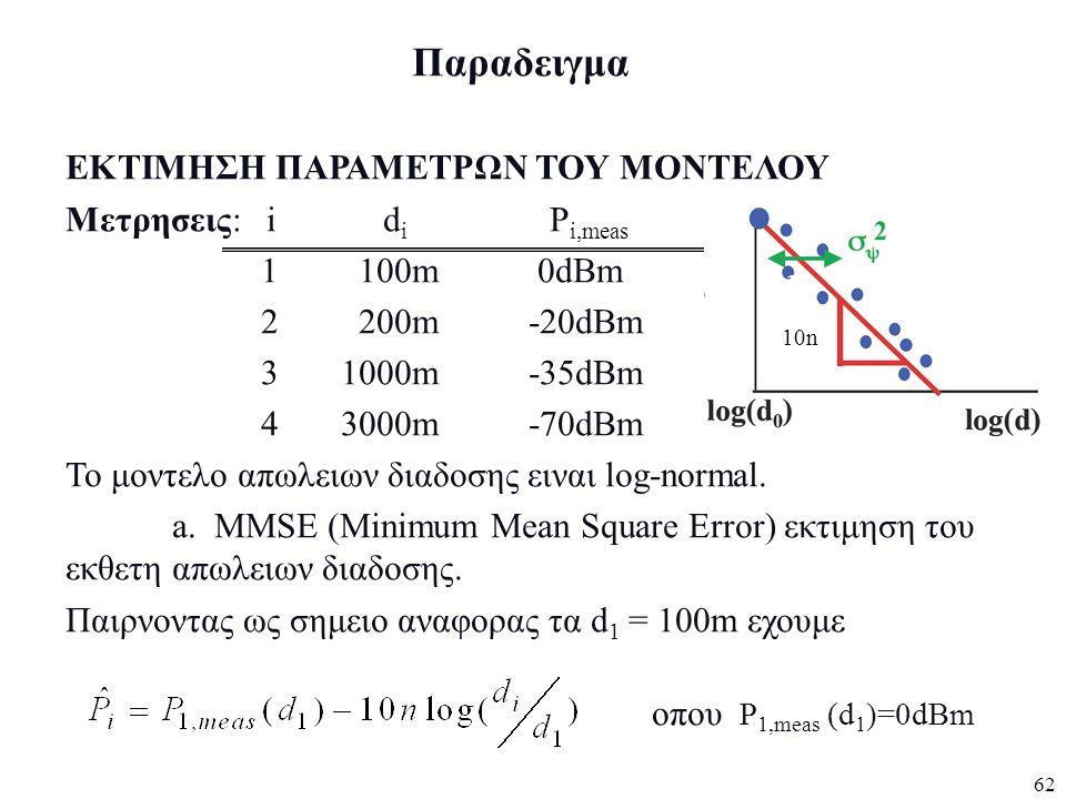 62 Παραδειγμα ΕΚΤΙΜΗΣΗ ΠΑΡΑΜΕΤΡΩΝ ΤΟΥ ΜΟΝΤΕΛΟΥ Μετρησεις: i d i P i,meas 1 100m 0dBm 2 200m -20dBm 3 1000m -35dBm 4 3000m -70dBm Το μοντελο απωλειων δ