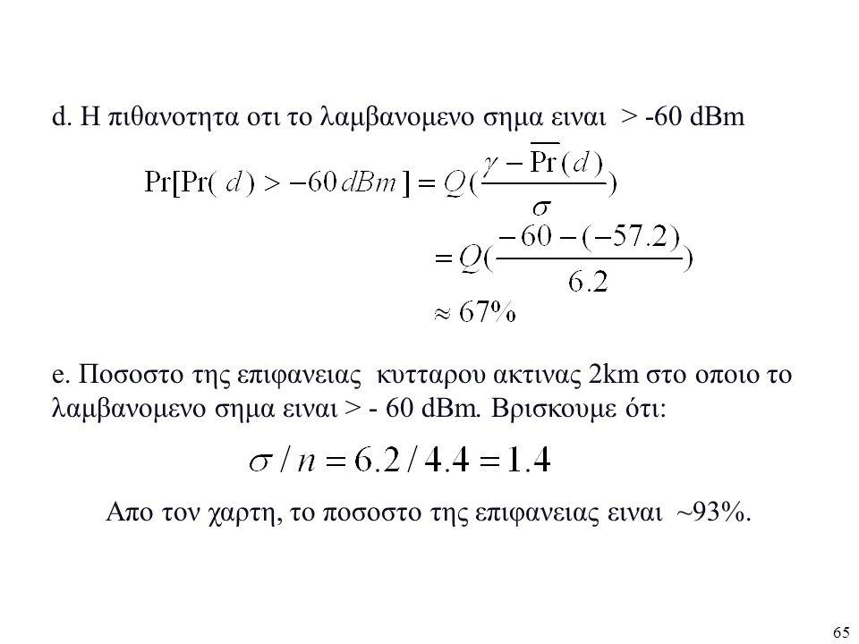 65 d. Η πιθανοτητα οτι το λαμβανομενο σημα ειναι > -60 dBm e. Ποσοστο της επιφανειας κυτταρου ακτινας 2km στο οποιο το λαμβανομενο σημα ειναι > - 60 d