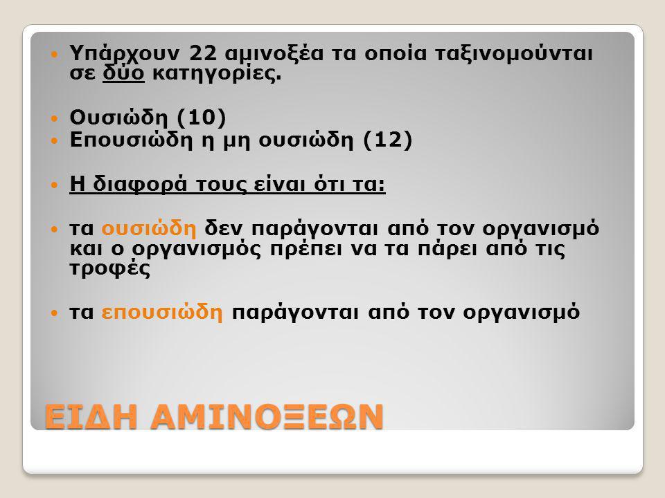 ΕΙΔΗ ΑΜΙΝΟΞΕΩΝ Υπάρχουν 22 αμινοξέα τα οποία ταξινομούνται σε δύο κατηγορίες. Ουσιώδη (10) Επουσιώδη η μη ουσιώδη (12) Η διαφορά τους είναι ότι τα: τα