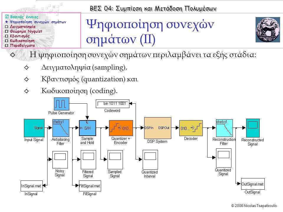 ΒΕΣ 04: Συμπίεση και Μετάδοση Πολυμέσων © 2006 Nicolas Tsapatsoulis ◊ Η ψηφιοποίηση συνεχών σημάτων περιλαμβάνει τα εξής στάδια: ◊ Δειγματοληψία (samp