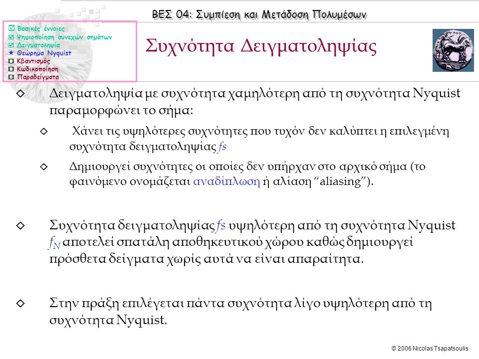 ΒΕΣ 04: Συμπίεση και Μετάδοση Πολυμέσων © 2006 Nicolas Tsapatsoulis ◊ Δειγματοληψία με συχνότητα χαμηλότερη από τη συχνότητα Nyquist παραμορφώνει το σ