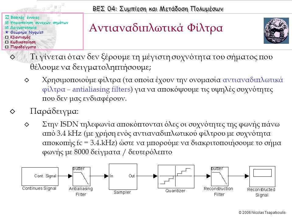 ΒΕΣ 04: Συμπίεση και Μετάδοση Πολυμέσων © 2006 Nicolas Tsapatsoulis ◊ Τι γίνεται όταν δεν ξέρουμε τη μέγιστη συχνότητα του σήματος που θέλουμε να δειγ