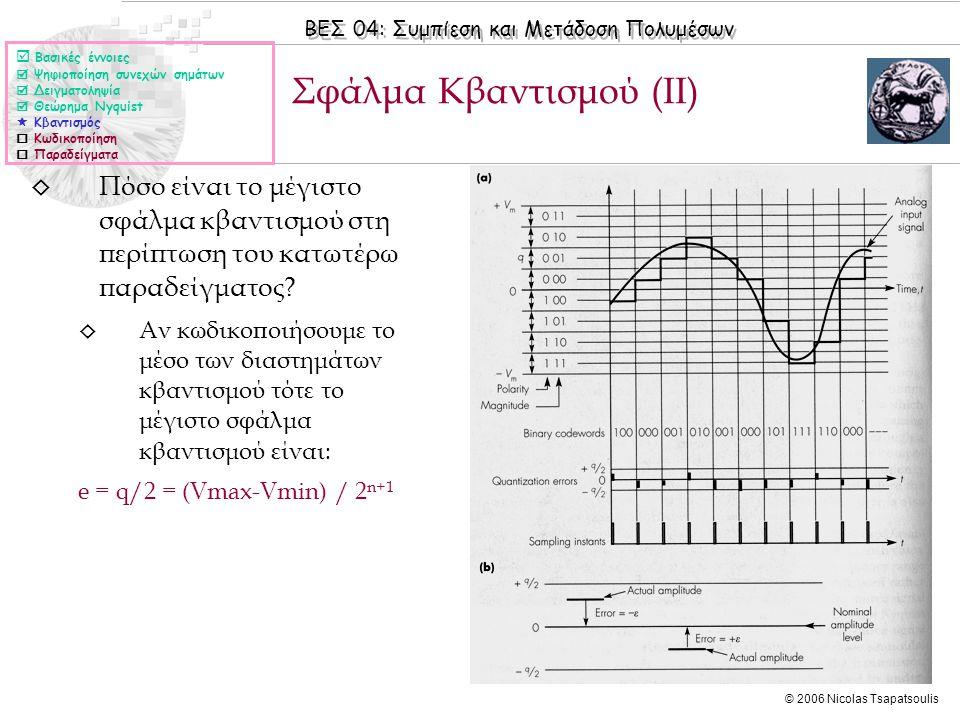 ΒΕΣ 04: Συμπίεση και Μετάδοση Πολυμέσων © 2006 Nicolas Tsapatsoulis ◊ Πόσο είναι το μέγιστο σφάλμα κβαντισμού στη περίπτωση του κατωτέρω παραδείγματος