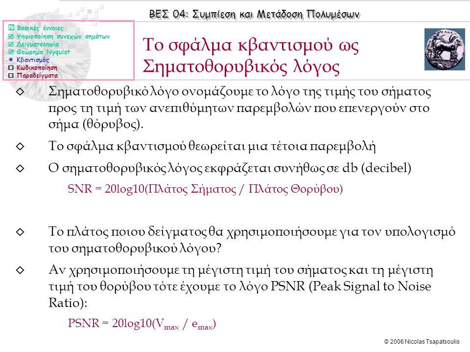 ΒΕΣ 04: Συμπίεση και Μετάδοση Πολυμέσων © 2006 Nicolas Tsapatsoulis ◊ Σηματοθορυβικό λόγο ονομάζουμε το λόγο της τιμής του σήματος προς τη τιμή των αν