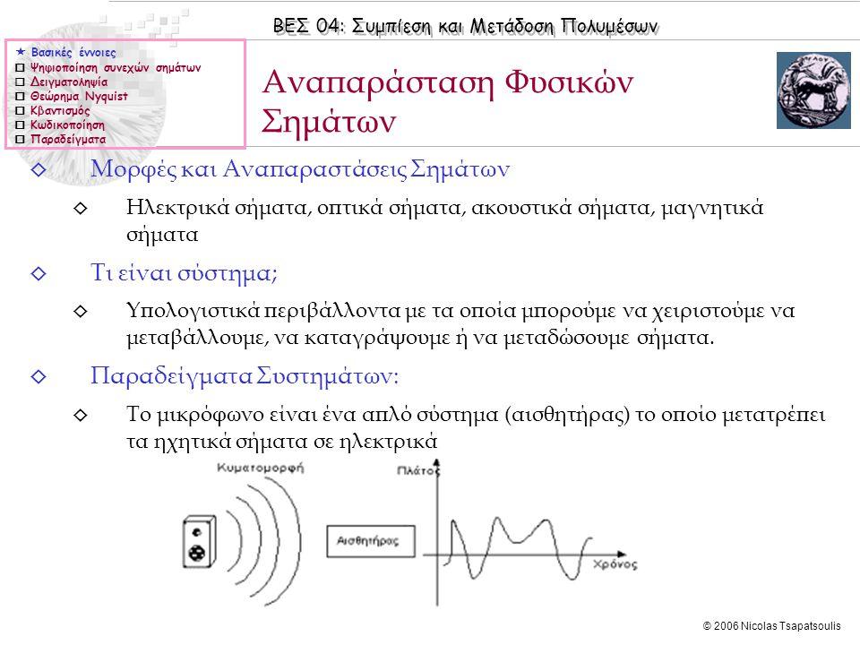 ΒΕΣ 04: Συμπίεση και Μετάδοση Πολυμέσων © 2006 Nicolas Tsapatsoulis ◊ Μορφές και Αναπαραστάσεις Σημάτων ◊ Ηλεκτρικά σήματα, οπτικά σήματα, ακουστικά σ