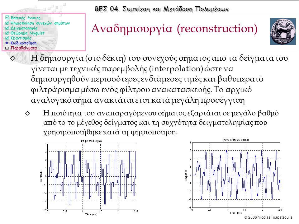 ΒΕΣ 04: Συμπίεση και Μετάδοση Πολυμέσων © 2006 Nicolas Tsapatsoulis ◊ Η δημιουργία (στο δέκτη) του συνεχούς σήματος από τα δείγματα του γίνεται με τεχ