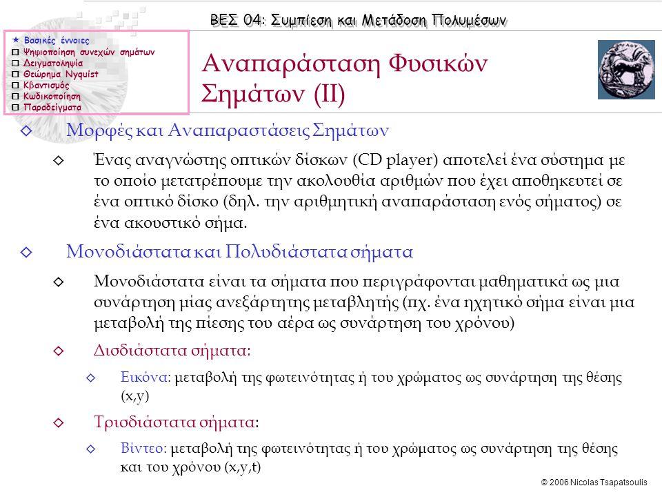 ΒΕΣ 04: Συμπίεση και Μετάδοση Πολυμέσων © 2006 Nicolas Tsapatsoulis ◊ Μορφές και Αναπαραστάσεις Σημάτων ◊ Ένας αναγνώστης οπτικών δίσκων (CD player) α