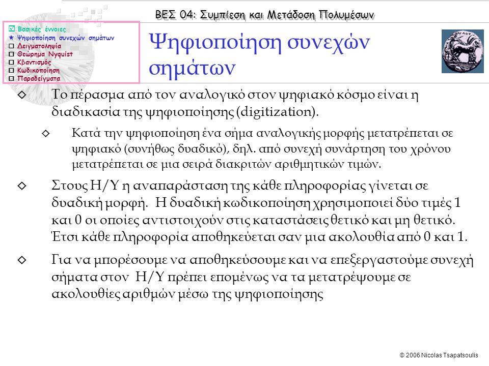 ΒΕΣ 04: Συμπίεση και Μετάδοση Πολυμέσων © 2006 Nicolas Tsapatsoulis ◊ Το πέρασμα από τον αναλογικό στον ψηφιακό κόσμο είναι η διαδικασία της ψηφιοποίη