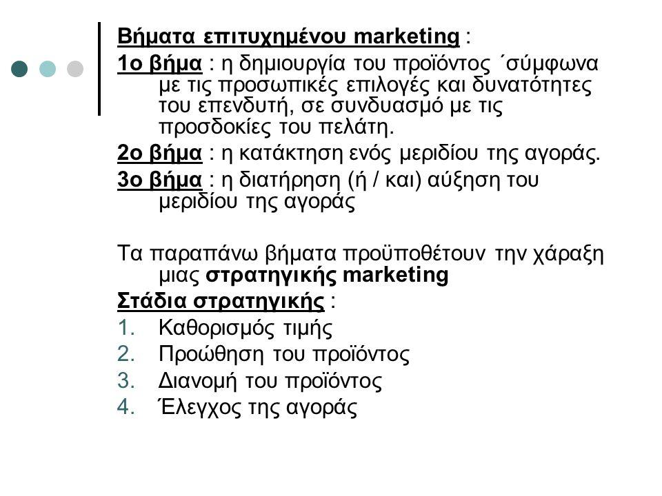 Βήματα επιτυχημένου marketing : 1ο βήμα : η δημιουργία του προϊόντος ΄σύμφωνα με τις προσωπικές επιλογές και δυνατότητες του επενδυτή, σε συνδυασμό με