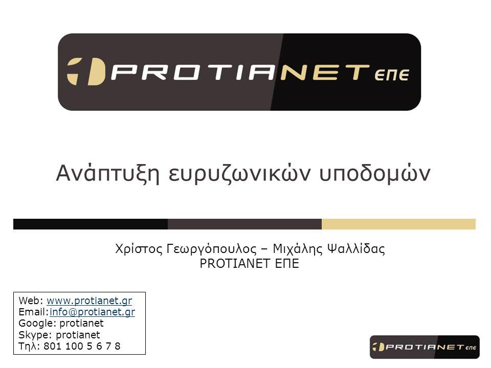 Ανάπτυξη ευρυζωνικών υποδομών Web: www.protianet.grwww.protianet.gr Email:info@protianet.grinfo@protianet.gr Google: protianet Skype: protianet Tηλ: 801 100 5 6 7 8 Χρίστος Γεωργόπουλος – Μιχάλης Ψαλλίδας PROTIANET ΕΠΕ