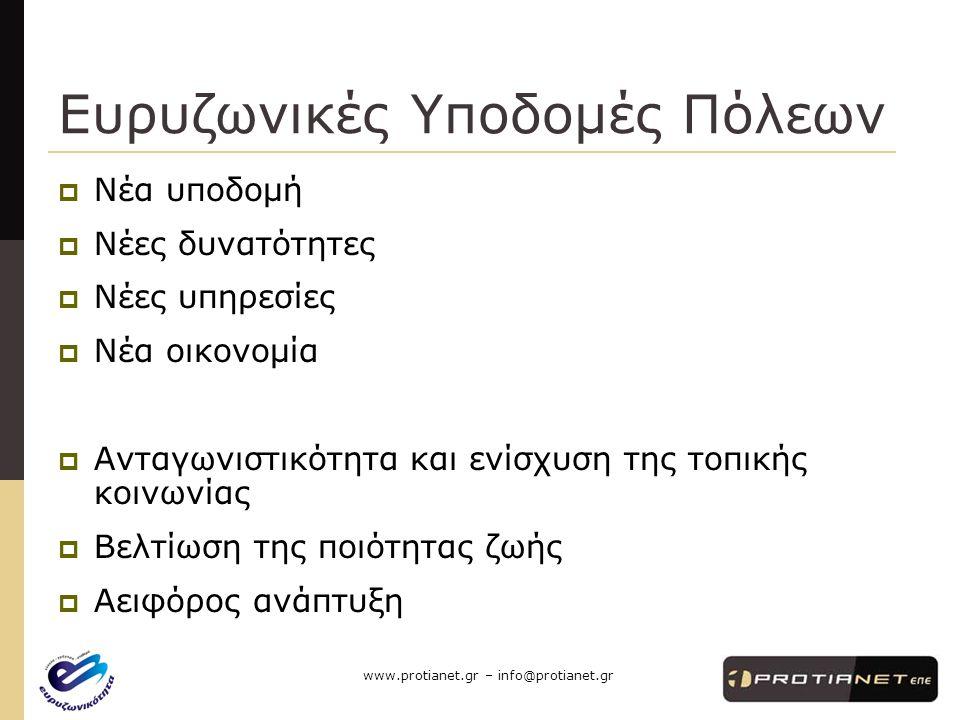 www.protianet.gr – info@protianet.gr Ευρυζωνικές Υποδομές Πόλεων  Νέα υποδομή  Νέες δυνατότητες  Νέες υπηρεσίες  Νέα οικονομία  Ανταγωνιστικότητα και ενίσχυση της τοπικής κοινωνίας  Βελτίωση της ποιότητας ζωής  Αειφόρος ανάπτυξη