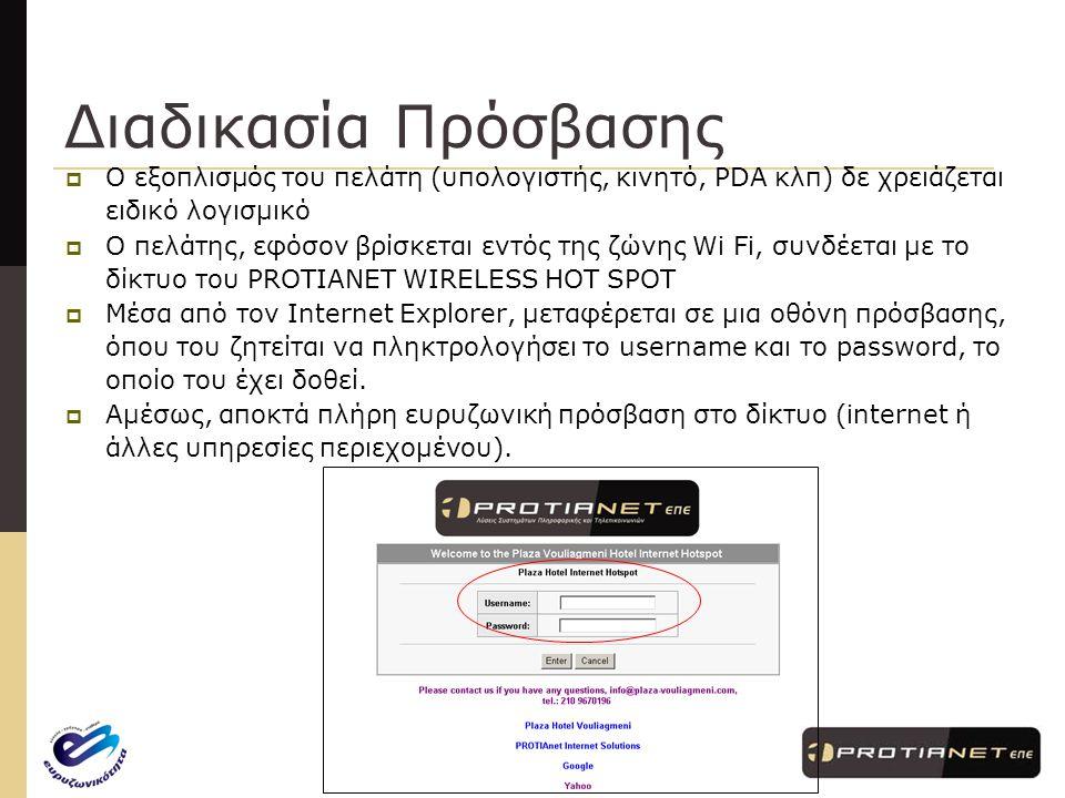 www.protianet.gr – info@protianet.gr PROTIANET WIRELESS HOT SPOT (www.hot-spot.gr)  Τεχνική και Οικονομική μελέτη εγκατάστασης Wi-Fi Hotspot  Υλοποίηση και εγκατάσταση του Wi-Fi Hotspot  Την παροχή αναλυτικών οδηγιών για το προσωπικό της επιχείρησης και τους πελάτες  Την εκπαίδευση του προσωπικού της επιχείρησης  Τη συνεχή υποστήριξη λειτουργίας του συστήματος H υπηρεσία PROTIANET WIRELESS HOT SPOT περιλαμβάνει: Η PROTIANET ΕΠΕ ανέλαβε τη σύνταξη πρότασης και την υλοποίηση έργων Wireless Hotspots, τα οποία μετά την αξιολόγησή τους χρηματοδοτήθηκαν από το πρόγραμμα κατά 50% του συνολικού τους προϋπολογισμού και τα οποία παρουσίασαν απόσβεση σε 6 μόλις μήνες.