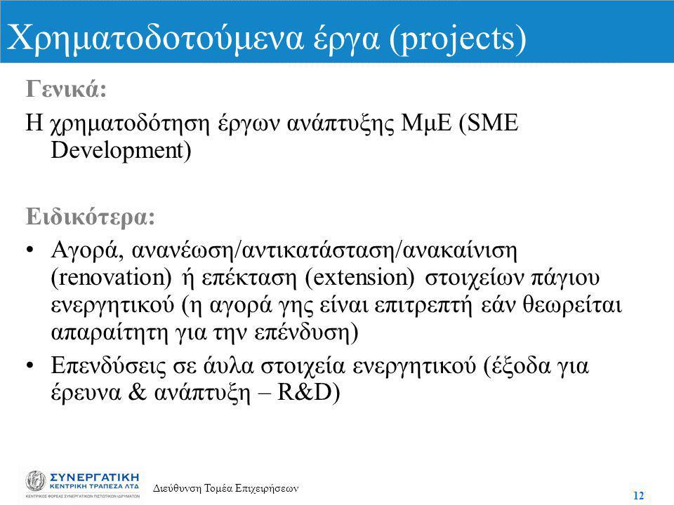 12 Διεύθυνση Τομέα Επιχειρήσεων Γενικά: Η χρηματοδότηση έργων ανάπτυξης ΜμΕ (SME Development) Ειδικότερα: Αγορά, ανανέωση/αντικατάσταση/ανακαίνιση (renovation) ή επέκταση (extension) στοιχείων πάγιου ενεργητικού (η αγορά γης είναι επιτρεπτή εάν θεωρείται απαραίτητη για την επένδυση) Επενδύσεις σε άυλα στοιχεία ενεργητικού (έξοδα για έρευνα & ανάπτυξη – R&D) Χρηματοδοτούμενα έργα (projects)