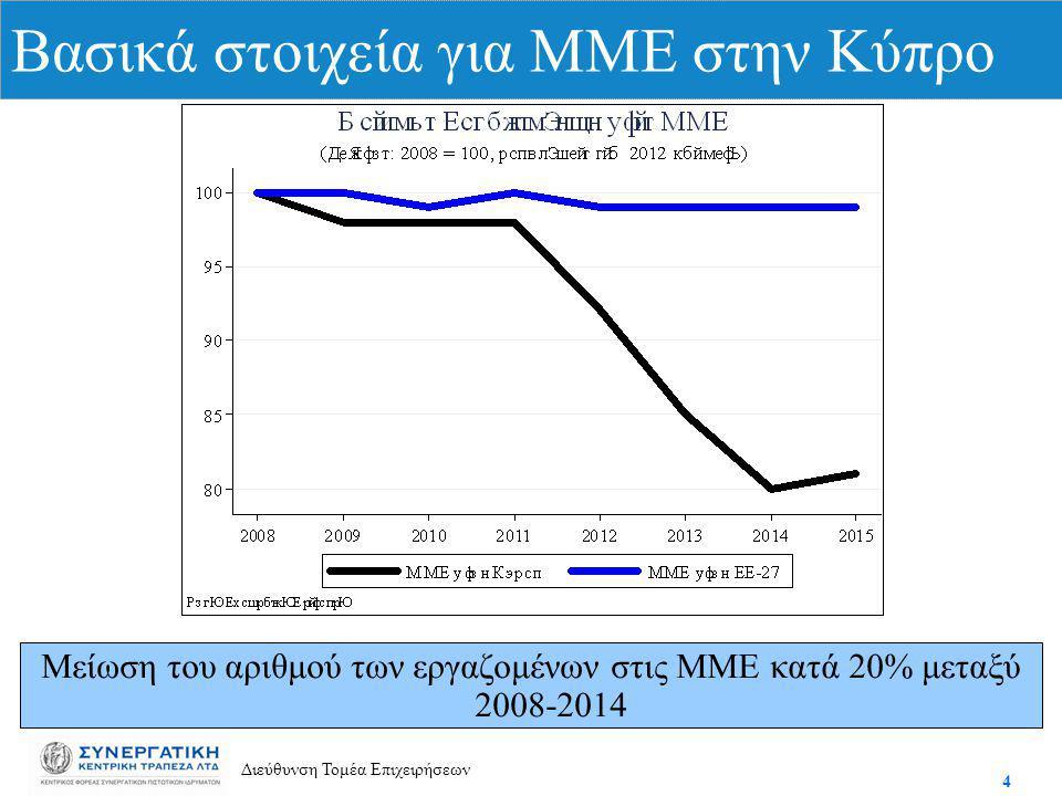 4 Διεύθυνση Τομέα Επιχειρήσεων Βασικά στοιχεία για ΜΜΕ στην Κύπρο Μείωση του αριθμού των εργαζομένων στις ΜΜΕ κατά 20% μεταξύ 2008-2014