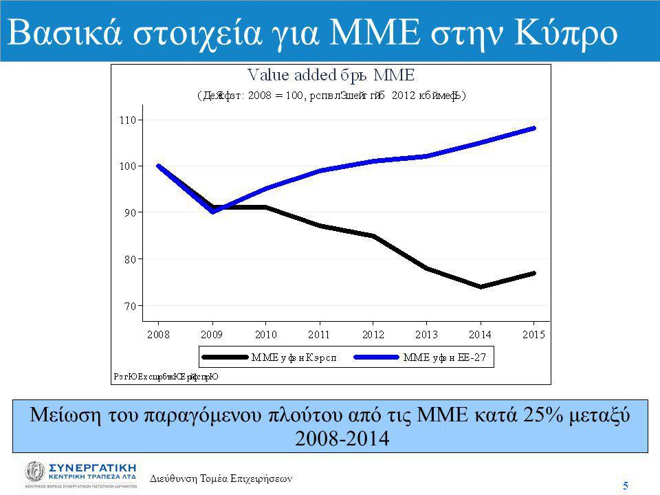 5 Διεύθυνση Τομέα Επιχειρήσεων Βασικά στοιχεία για ΜΜΕ στην Κύπρο Μείωση του παραγόμενου πλούτου από τις ΜΜΕ κατά 25% μεταξύ 2008-2014