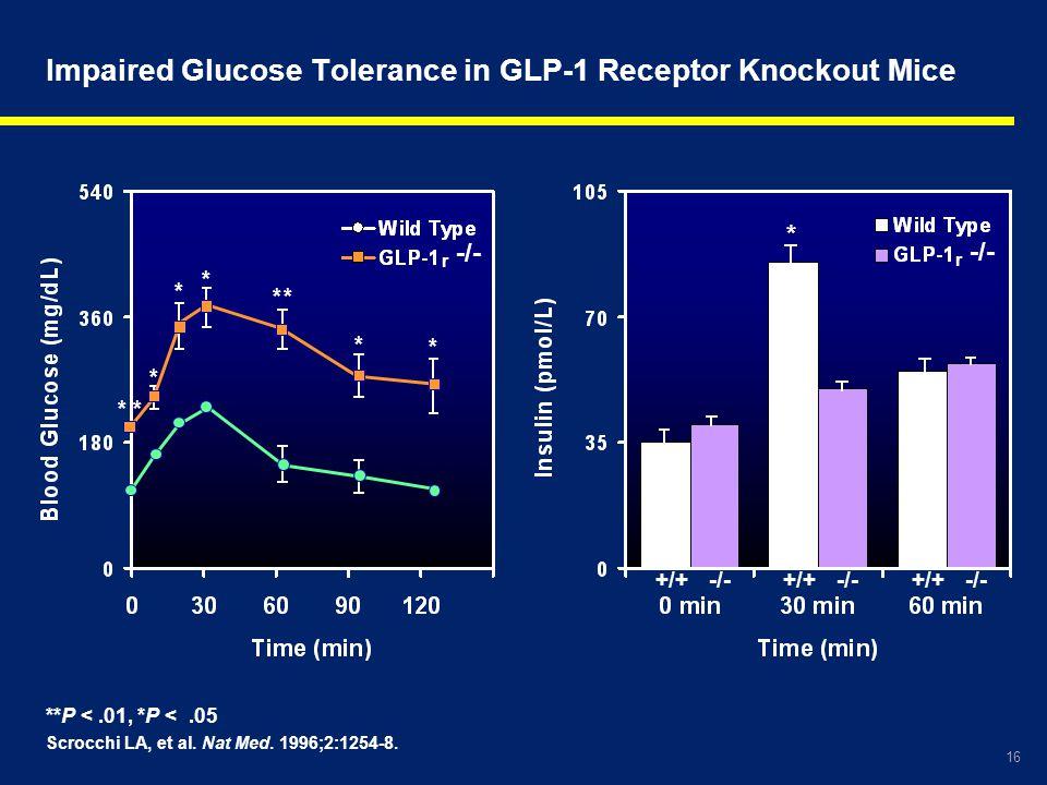 16 **P <.01, *P <.05 Scrocchi LA, et al. Nat Med. 1996;2:1254-8. Impaired Glucose Tolerance in GLP-1 Receptor Knockout Mice r -/- * * * * * ** * * +/+