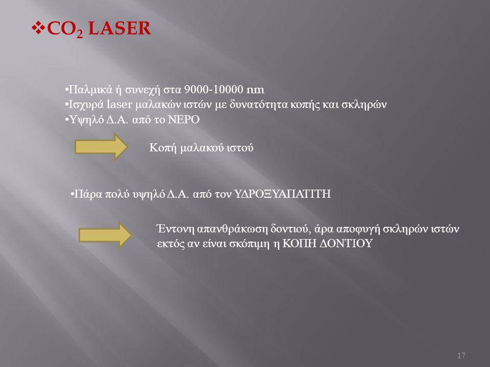 17  CO 2 LASER Παλμικά ή συνεχή στα 9000-10000 nm Ισχυρά laser μαλακών ιστών με δυνατότητα κοπής και σκληρών Υψηλό Δ. Α. από το ΝΕΡΟ Κοπή μαλακού ιστ