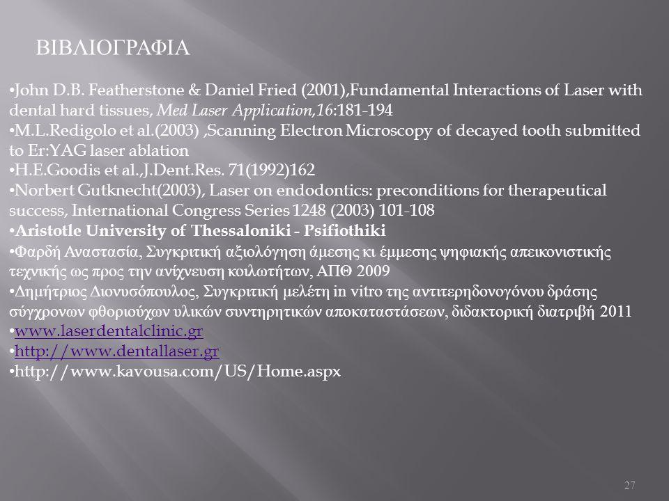 27 ΒΙΒΛΙΟΓΡΑΦΙΑ John D.B. Featherstone & Daniel Fried (2001),Fundamental Interactions of Laser with dental hard tissues, Med Laser Application,16 :181
