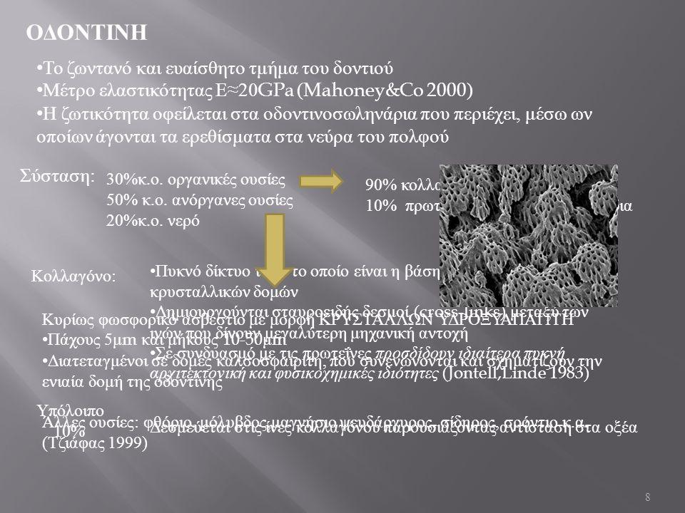 8 ΟΔΟΝΤΙΝΗ Το ζωντανό και ευαίσθητο τμήμα του δοντιού Μέτρο ελαστικότητας Ε ≈20GPa (Mahoney&Co 2000) Η ζωτικότητα οφείλεται στα οδοντινοσωληνάρια που