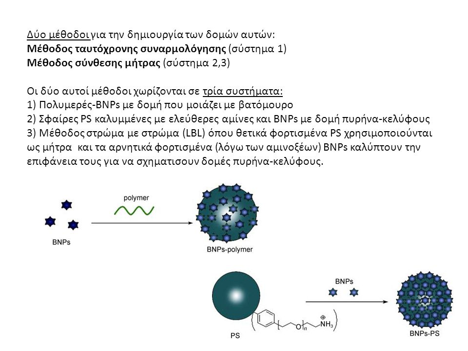 Δύο μέθοδοι για την δημιουργία των δομών αυτών: Μέθοδος ταυτόχρονης συναρμολόγησης (σύστημα 1) Μέθοδος σύνθεσης μήτρας (σύστημα 2,3) Οι δύο αυτοί μέθοδοι χωρίζονται σε τρία συστήματα: 1) Πολυμερές-BNPs με δομή που μοιάζει με βατόμουρο 2) Σφαίρες PS καλυμμένες με ελεύθερες αμίνες και BNPs με δομή πυρήνα-κελύφους 3) Μέθοδος στρώμα με στρώμα (LBL) όπου θετικά φορτισμένα PS χρησιμοποιούνται ως μήτρα και τα αρνητικά φορτισμένα (λόγω των αμινοξέων) BNPs καλύπτουν την επιφάνεια τους για να σχηματισουν δομές πυρήνα-κελύφους.