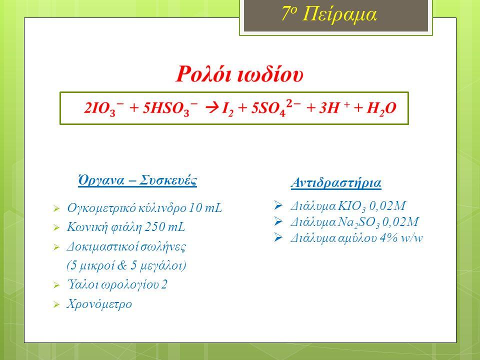 Παρασκευή διαλυμάτων (Διάλυμα Α) ΚΙΟ 3 0,02Μ  Ζυγίζουμε 1,07 g KIO 3 σε ύαλο ωρολογίου.