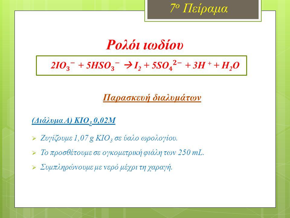 Παρασκευή διαλυμάτων (Διάλυμα Β) Na 2 SΟ 3 0,02Μ οξινισμένο με άμυλο  Ζυγίζουμε 0,63 g Na 2 SO 3 σε ύαλο ωρολογίου.