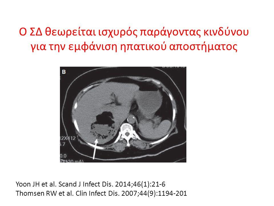 Ο ΣΔ θεωρείται ισχυρός παράγοντας κινδύνου για την εμφάνιση ηπατικού αποστήματος Yoon JΗ et al. Scand J Infect Dis. 2014;46(1):21-6 Thomsen RW et al.