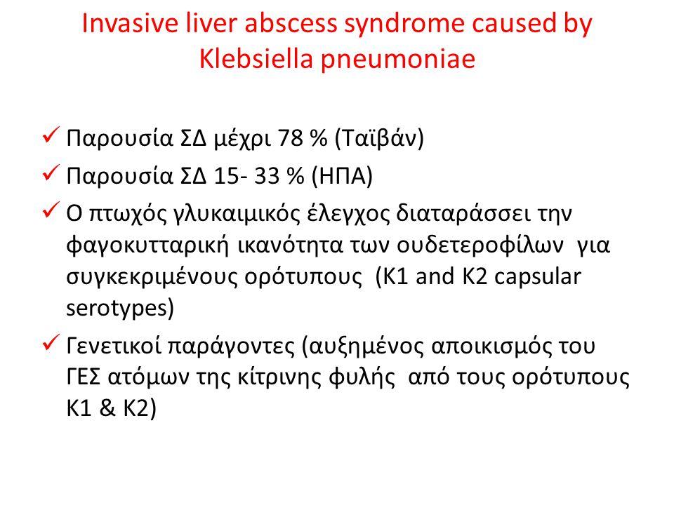 Invasive liver abscess syndrome caused by Klebsiella pneumoniae Παρουσία ΣΔ μέχρι 78 % (Ταϊβάν) Παρουσία ΣΔ 15- 33 % (ΗΠΑ) Ο πτωχός γλυκαιμικός έλεγχο