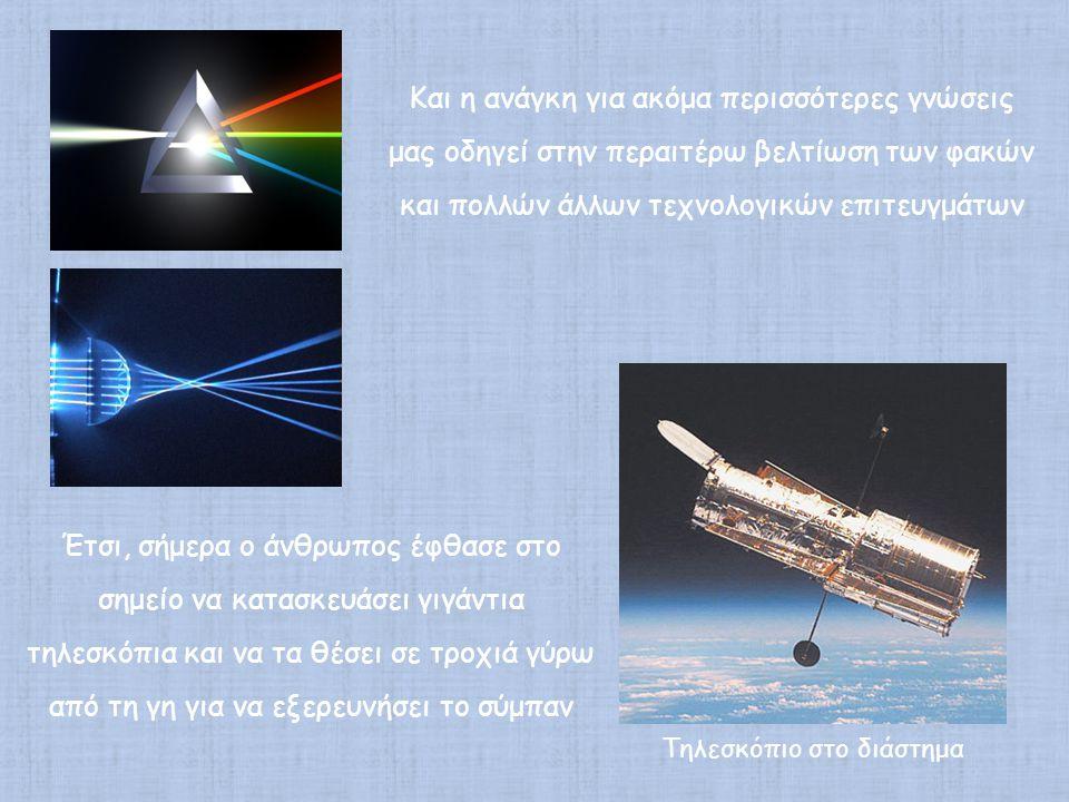Τηλεσκόπιο στο διάστημα Και η ανάγκη για ακόμα περισσότερες γνώσεις μας οδηγεί στην περαιτέρω βελτίωση των φακών και πολλών άλλων τεχνολογικών επιτευγμάτων Έτσι, σήμερα ο άνθρωπος έφθασε στο σημείο να κατασκευάσει γιγάντια τηλεσκόπια και να τα θέσει σε τροχιά γύρω από τη γη για να εξερευνήσει το σύμπαν
