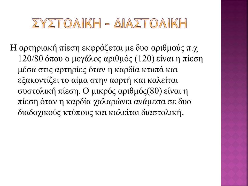 Γέννηση80 / 50 mmHg 0 - 190 / 60 mmHg 1 - 396 / 65 mmHg 3 – 698 / 65 mmHg 6 – 9105 / 65 mmHg 9 – 12110 / 65 mmHg 12 – ενήλικας120 / 80 mmHg 60 + 14 0/ 90mmg