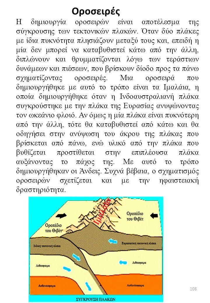 Οροσειρές Η δημιουργία οροσειρών είναι αποτέλεσμα της σύγκρουσης των τεκτονικών πλακών.