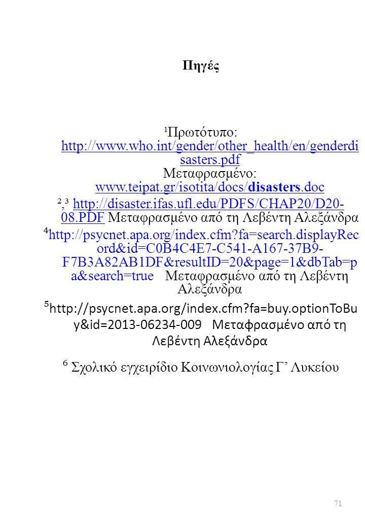 Πηγές ¹Πρωτότυπο: http://www.who.int/gender/other_health/en/genderdi sasters.pdf Μεταφρασμένο: www.teipat.gr/isotita/docs/disasters.doc http://www.who.int/gender/other_health/en/genderdi sasters.pdf www.teipat.gr/isotita/docs/disasters.doc ²,³ http://disaster.ifas.ufl.edu/PDFS/CHAP20/D20- 08.PDF Μεταφρασμένο από τη Λεβέντη Αλεξάνδραhttp://disaster.ifas.ufl.edu/PDFS/CHAP20/D20- 08.PDF ⁴ http://psycnet.apa.org/index.cfm?fa=search.displayRec ord&id=C0B4C4E7-C541-A167-37B9- F7B3A82AB1DF&resultID=20&page=1&dbTab=p a&search=true Μεταφρασμένο από τη Λεβέντη Αλεξάνδρα ⁵ http://psycnet.apa.org/index.cfm?fa=buy.optionToBu y&id=2013-06234-009 Μεταφρασμένο από τη Λεβέντη Αλεξάνδρα ⁶ Σχολικό εγχειρίδιο Κοινωνιολογίας Γ' Λυκείου 71